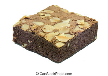 almonds brownie on white background