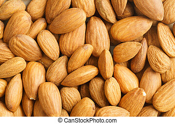 Almonds - Close-up shot of dry unpeeled almonds