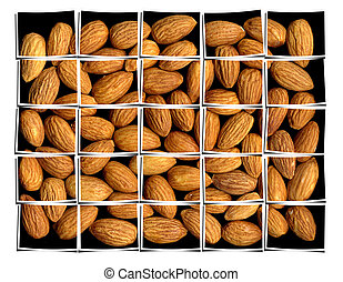almonds collage - almonds on black background collage...