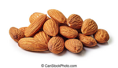 Almonds - Heap of almonds isolated on white background