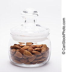 Almonds in a jar of glass