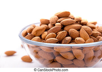 almonds in glass bowl