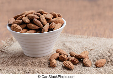 almonds in the bowl close-up