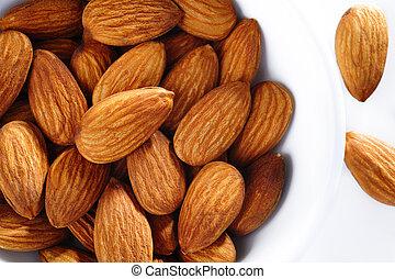 almonds in white bowl
