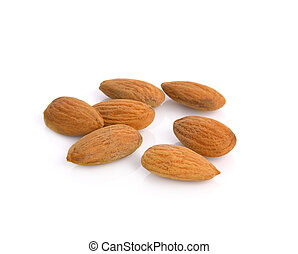 almonds isolated on the white background
