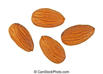 Almonds isolated on white background, top view