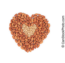 Almonds nuts in heart shape.