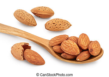 Almonds nuts in wooden spoon isolated on white background with clipping path and full depth of field.