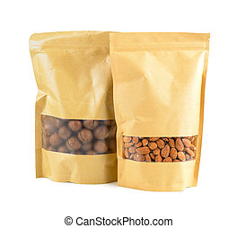 Almonds nuts packed in paper bags on a white background.