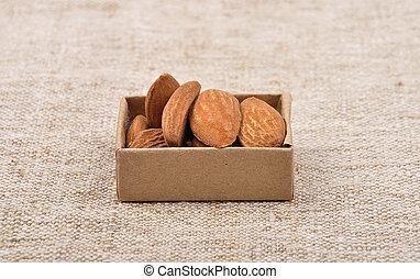 Almonds on linen