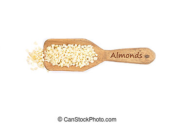 Almonds on shovel