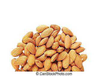 Almonds on white background