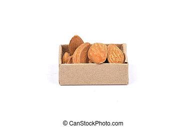 Almonds on white