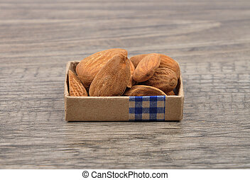 Almonds on wood
