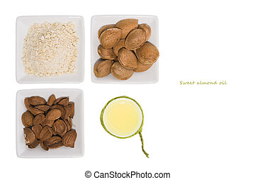 Almonds over white background. - Composition with almonds...