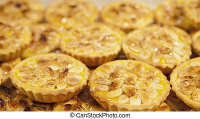 Almonds portuguese pastries - Tray with loads of delicious...