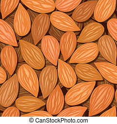 almonds seamless background - vector almonds brown nut...