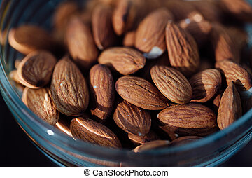 Almonds seed in the glass bowl.