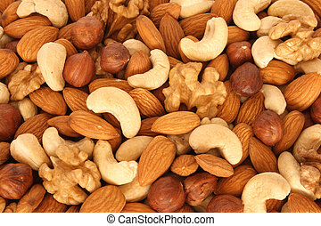 (almonds, sortido, filberts, nozes, cima fim, nozes, cashews...