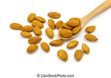 Almonds with wooden spoon on the white background.