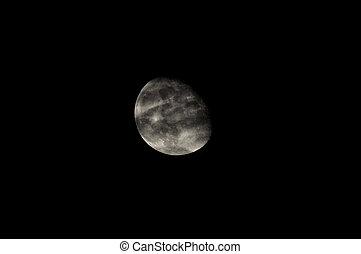 Almost Full Moon over a Dark Black Sky
