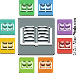 'almost, iconen, -, stijl, flat', vector, opengeslagen boek