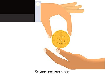 Alms - Hand Handing Coin To The Limp Hand of Another Person...