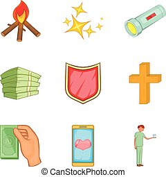 Alms-deed icons set, cartoon style - Alms-deed icons set....