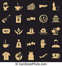 Alms-deed icons set, simple style - Alms-deed icons set. ...