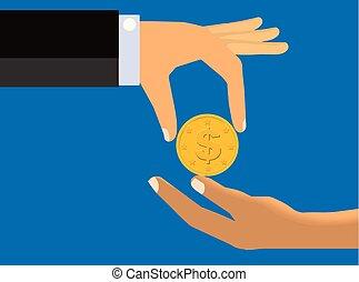 Alms - An illustration of a a hand handing a bundle of cash...