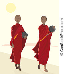 almsgiving - an illustration of buddhist monks in maroon...