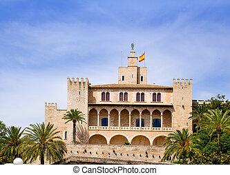 Almudaina palace in Palma de Mallorca from Majorca island...