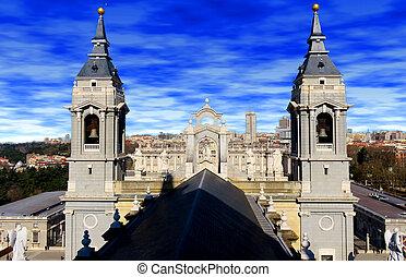 almudena, catedral, y, palacio real, madrid, españa