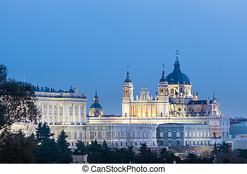Almudena Cathedral and Royal Palace in Madrid, Spain. - ...