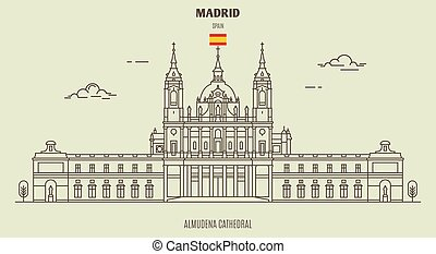 Almudena Cathedral in Madrid, Spain. Landmark icon in linear style