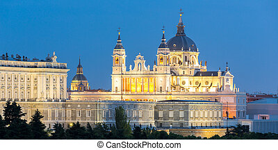 Almudena Cathedral Madrid - Almudena Cathedral at dusk. ...