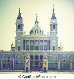Almudena Cathedral, Madrid, Spain. Retro style filtred image