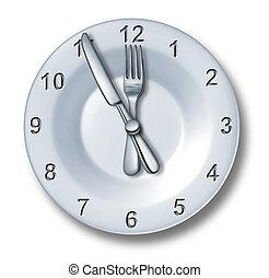 almuerce tiempo, cenar