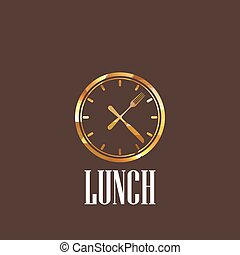 almuerce tiempo, ilustración, icono