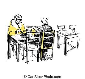 almuerzo, bosquejo, pareja, teniendo