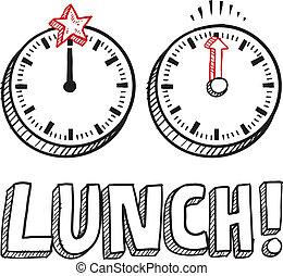 almuerzo, bosquejo, tiempo
