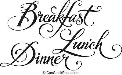 almuerzo, desayuno, cena