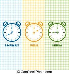 almuerzo, desayuno, hora de cenar
