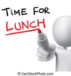 almuerzo, escrito, palabras, tiempo, 3d, hombre