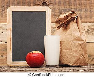 almuerzo, escuela, blanco, encima, pizarra