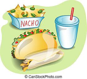 almuerzo, mexicano, completo, ilustración