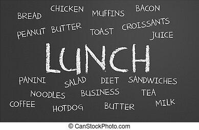 almuerzo, palabra, nube