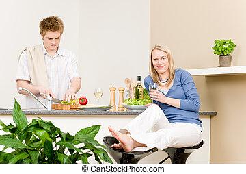 almuerzo, par bueno, aparejar, ensalada, en, cocina