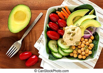 almuerzo sano, tazón, con, aguacate, hummus, y, verduras...