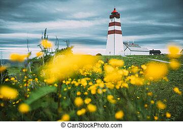 Alnesgard, Godoya, Norway. Old Alnes Lighthouse In Summer Day In Godoy Island Near Alesund Town. Alnes Fyr